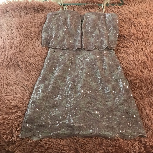 BCBGMaxAzria Dresses & Skirts - Silver & Lilac BCBG Cocktail Dress - Size 0